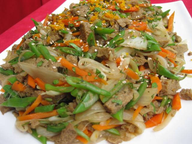 Seitan con verduras dulces y judias verdes de Cocina Energetica