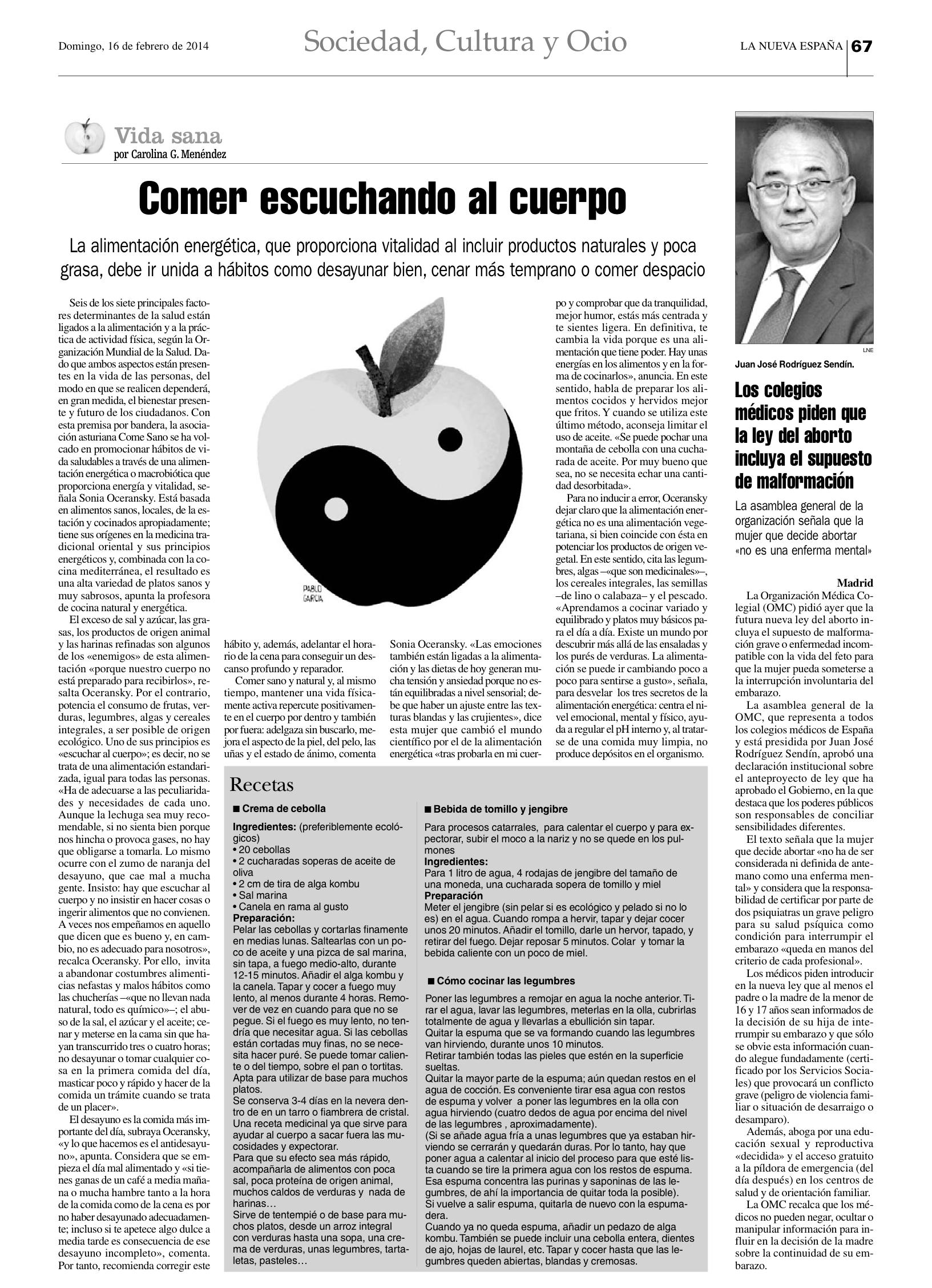 Entrevista Sonia Oceransky LNE 26 febrero 2014
